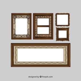 Collection of vintage ornamental frames