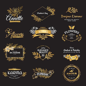 Collection of vintage patterns. flourishes calligraphic ornaments and frames. retro and modern styles of design elements, signs and logos.  template.