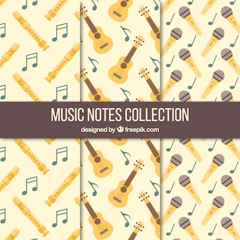 Collection of vintage patterns with musical instruments and microphone