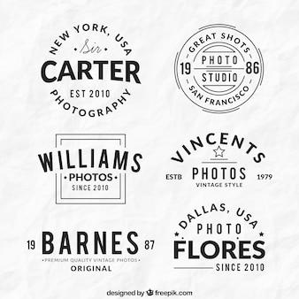 Raccolta di vintage fotografia logo