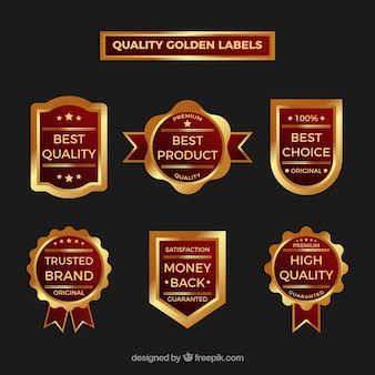 Collection of vintage premium gold stickers