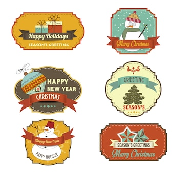 Collection of vintage retro christmas labels