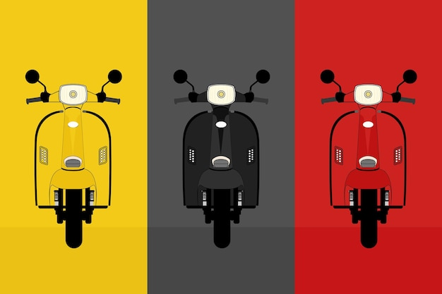 Collection vintage scooter with yellow, black and red color