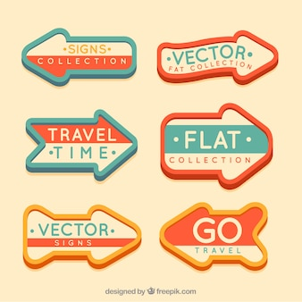 Collection of vintage sign in flat design