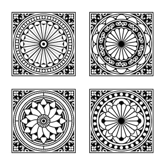 Collection of vintage style tiles. modular geometric design with ornamental elements.