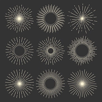 Collection of vintage sunburst shapes
