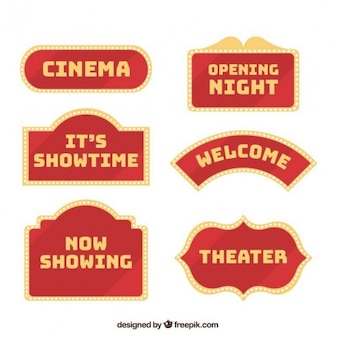 Collection of vintage theater signs