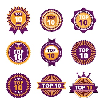 Collection of vintage top 10 badges