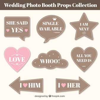 Collection of vintage wedding speech bubbles