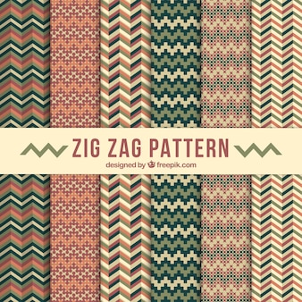 Collection of vintage zig-zag patterns