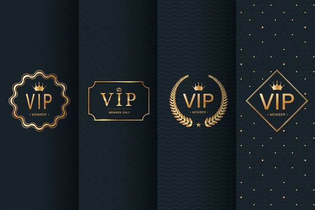 Collection of vip badge on seamless pattern