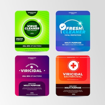 Collection of viricidal and bactericidal cleaner labels