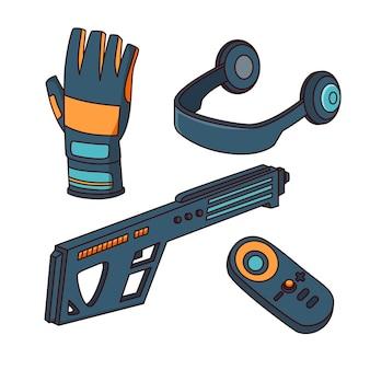 Raccolta di elementi di apparecchiature di realtà virtuale
