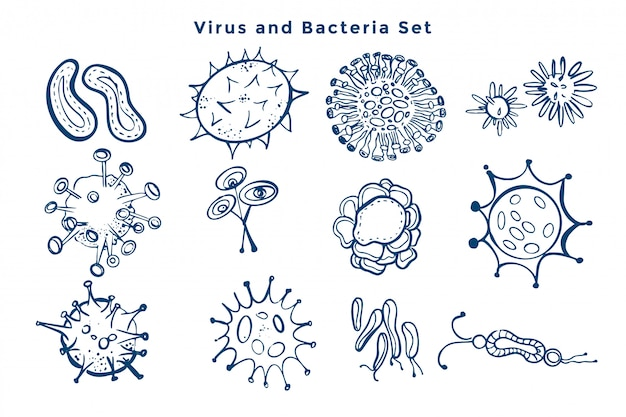 Collection of virus and bacteria germs design