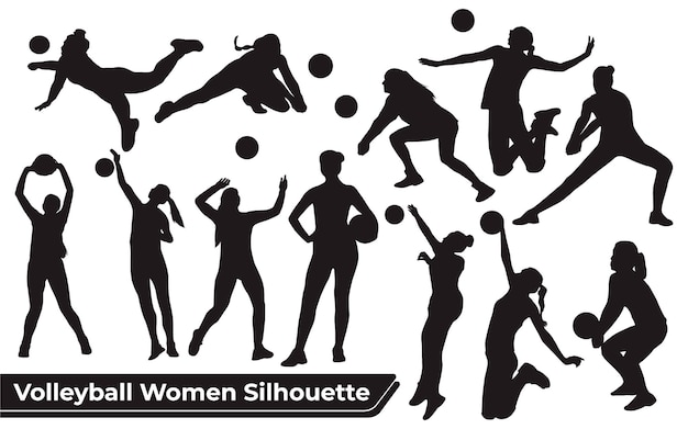 Collection of volleyball player woman silhouettes in different poses