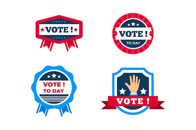Collection of voting badges and stickers