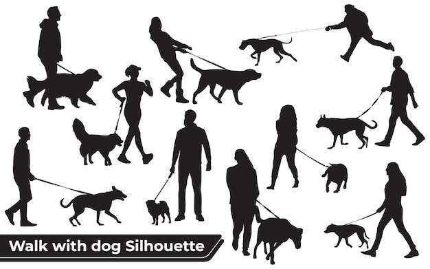 Collection of walk with dog silhouettes in different poses