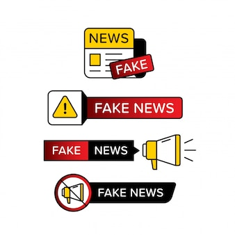 Collection of warning sign with fake news text in various shape and style.