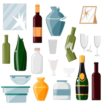Collection of waste glass on a white background.bottles, glasses, vases and other rubbish. glass products. recyclable glass trash vector illustration.