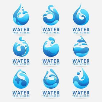 Collection of water logo design with splash effect