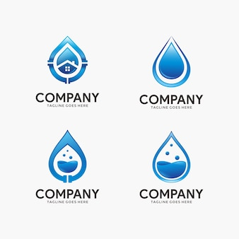 Collection of water and plumbing logo design template