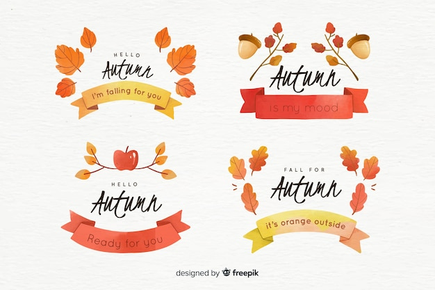Collection of watercolor autumn badges