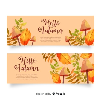 Collection of watercolor autumn banners