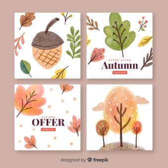 Collection of watercolor autumn cards
