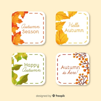 Collection of watercolor autumn labels