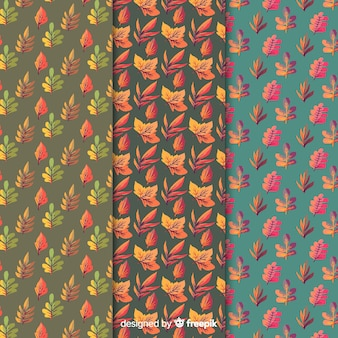 Collection of watercolor autumn pattern