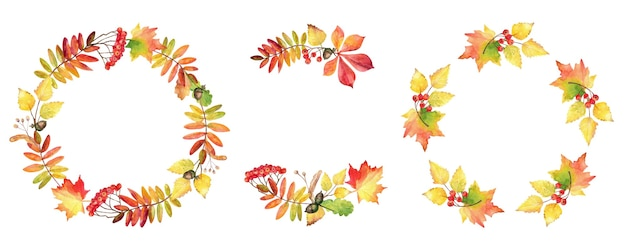 Collection of watercolor autumn wreaths. floral frame