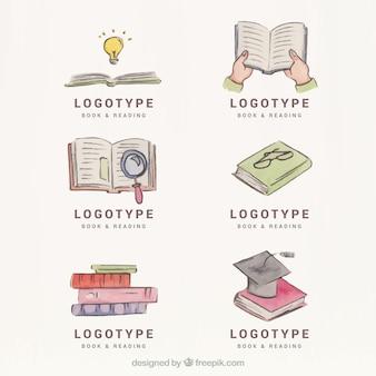 Collection of watercolor book logos