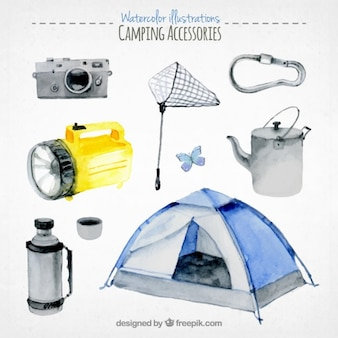 Collection of watercolor camping equipment