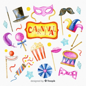 Collection of watercolor carnival elements
