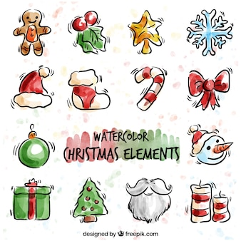 Collection of watercolor christmas decoration