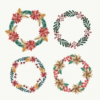 Collection of watercolor christmas flower & wreath
