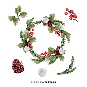 Collection of watercolor christmas flower