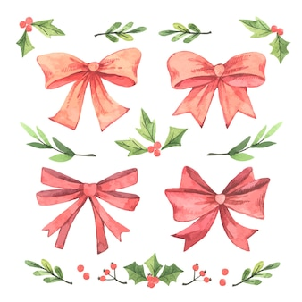 Collection of watercolor christmas ribbon