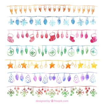 Collection of watercolor christmas string lights