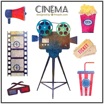 Collection of watercolor cinema material