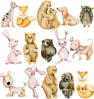 Collection of watercolor cute animals (bunnies, foxes, owls, bears and dogs)