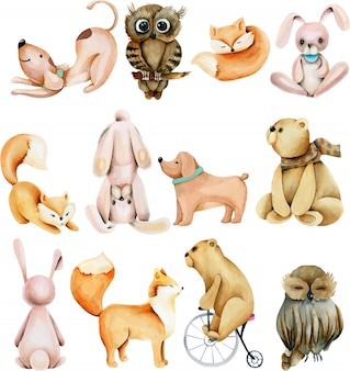 Collection of watercolor cute animals (rabbits, foxes, owls, bears and dogs)