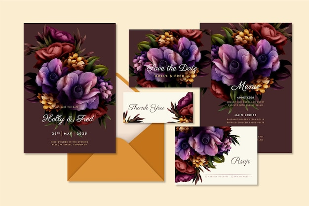 Collection of watercolor dramatic botanical wedding stationery
