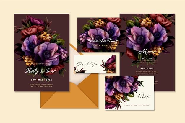 Collezione di cancelleria matrimonio botanico drammatico dell'acquerello