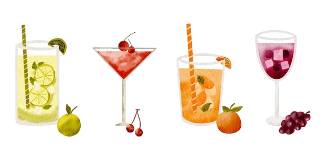 Collection of watercolor drinks fruits cocktail illustration on a white background