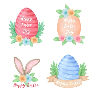 Collection of watercolor easter day labels