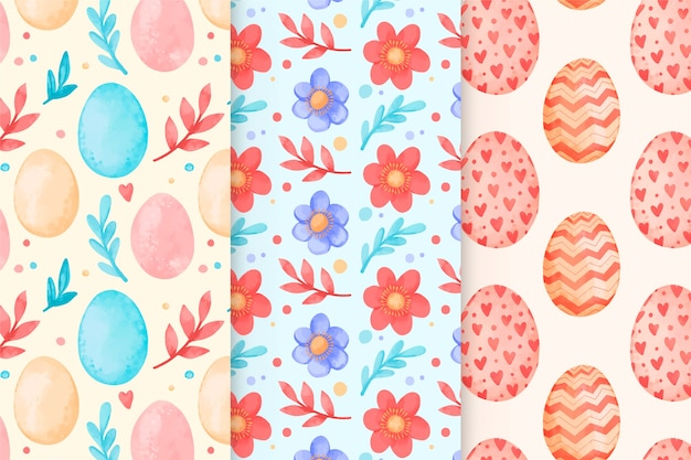 Collection of watercolor easter day patterns