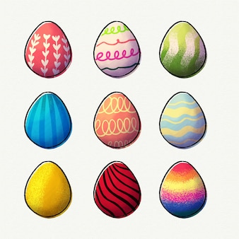 Collection of watercolor easter eggs