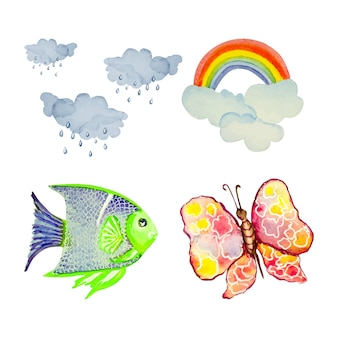 Collection of watercolor elements, hand painted clipart, postcards.