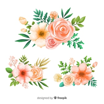 Collection of watercolor floral bouquet